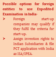Possible options for foreign entities to use Expedited Examination in India